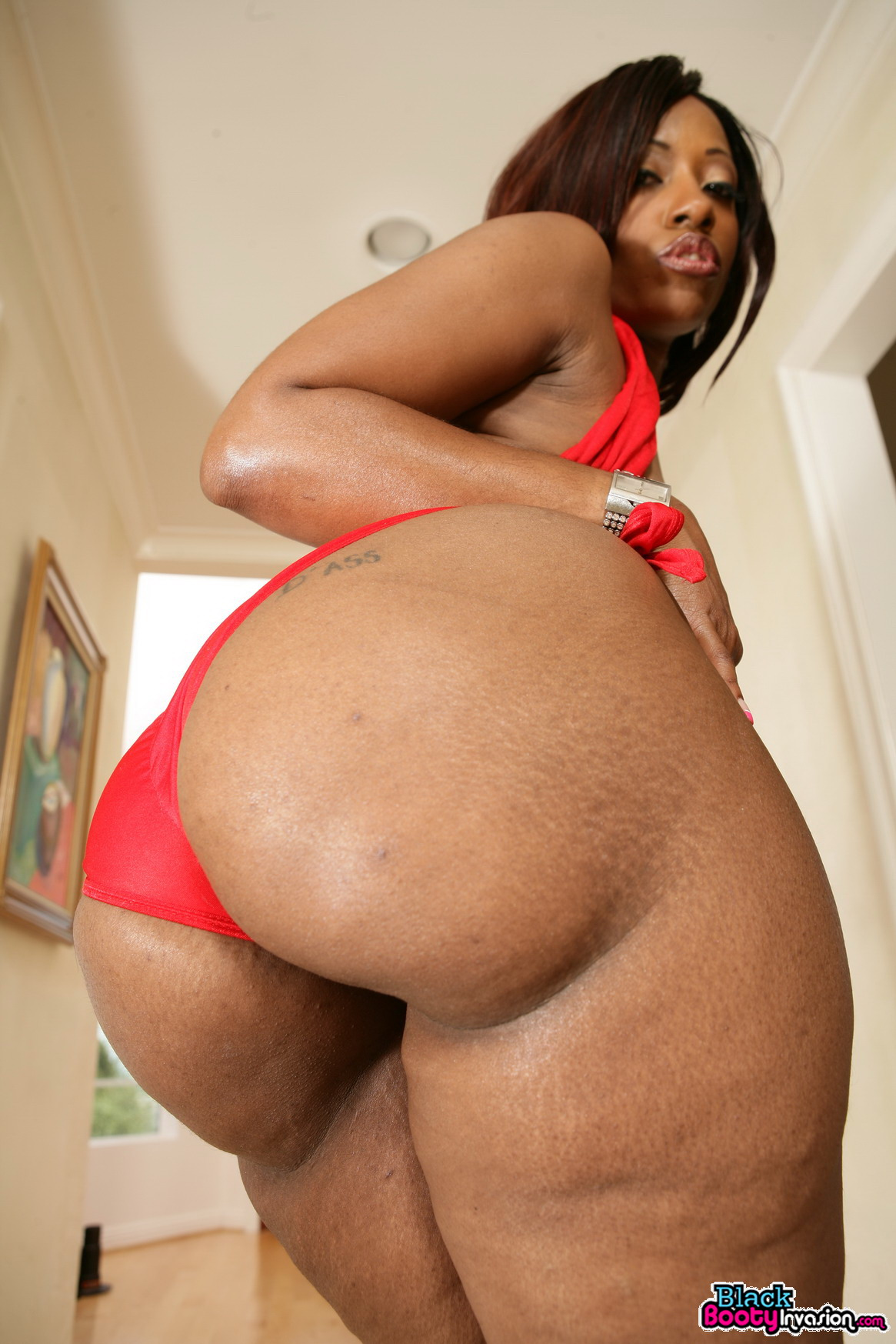 thick girl in thong gets naked