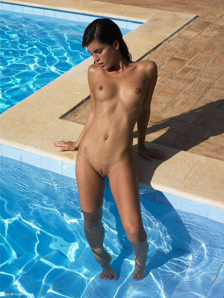 Girl naked in the pool